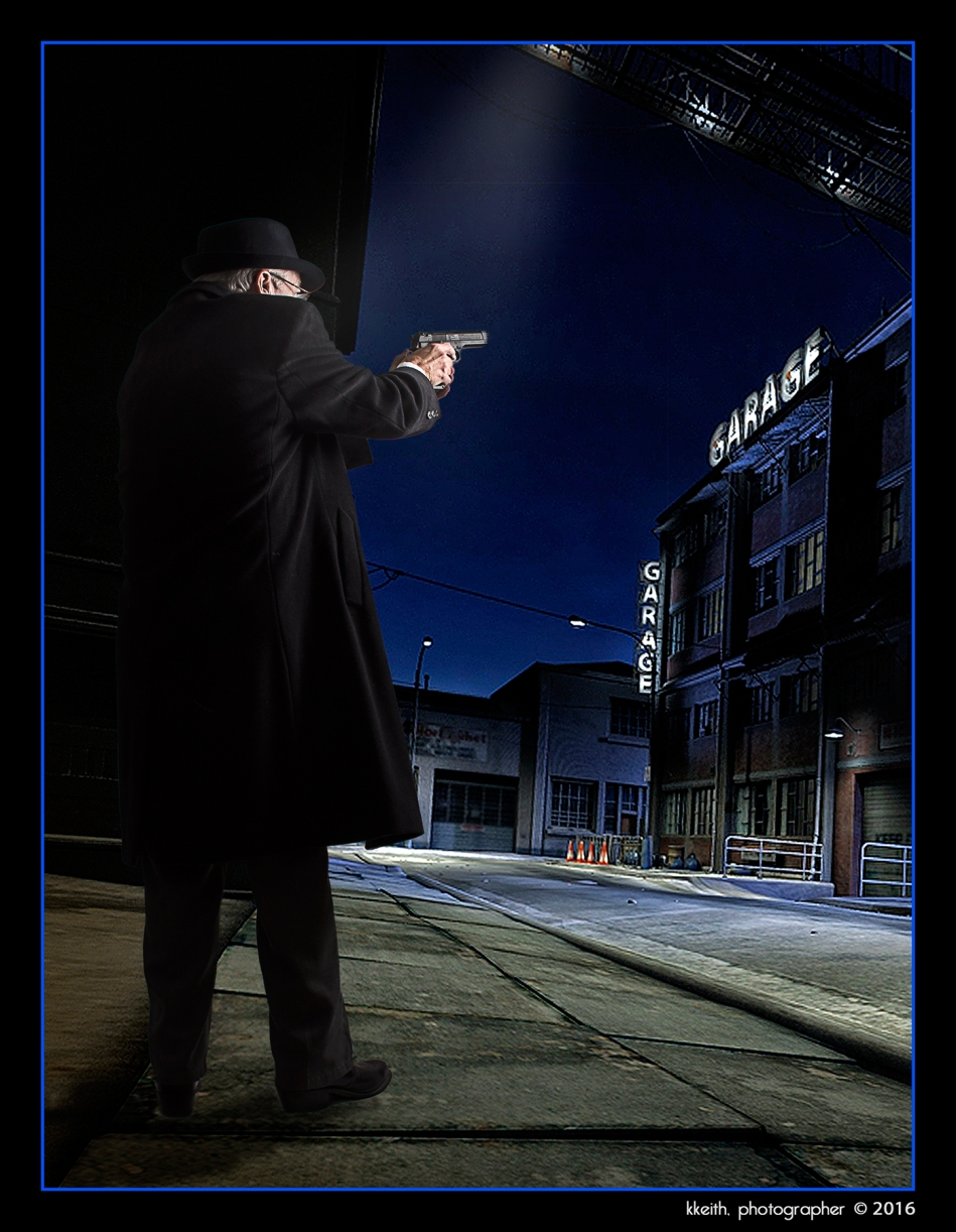 "*""Down these mean streets a man must go who is not himself mean, who is neither tarnished nor afraid. "" Raymond Chandler in the 1944 essay ""the Simple Art of Murder.""  Basic street background by indigo_deep@deviant art.com ©2016 kkeith, all rights reserved"